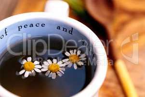 Chamomile tea with chamomile daisy flowers