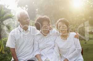 Group of Asian seniors at nature park