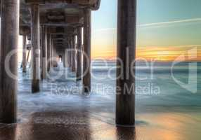 HDR Sunset behind the Huntington Beach pier