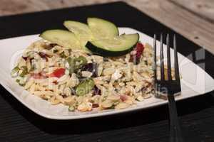 Greek orzo salad with cucumbers