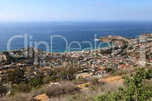 Coastline of Laguna Beach from an aerial view that shows Emerald
