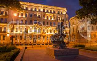 Monument of Peter First 1 at night in Saint-Petersburg, Russia