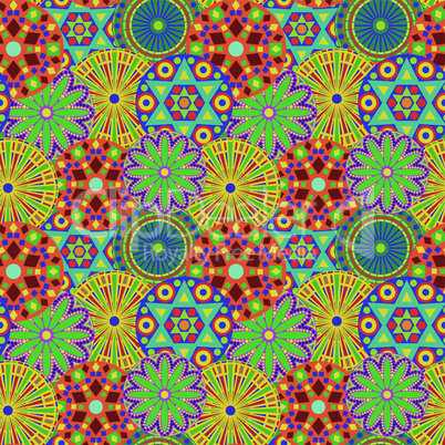 Seamless pattern with colourful geometric flowers