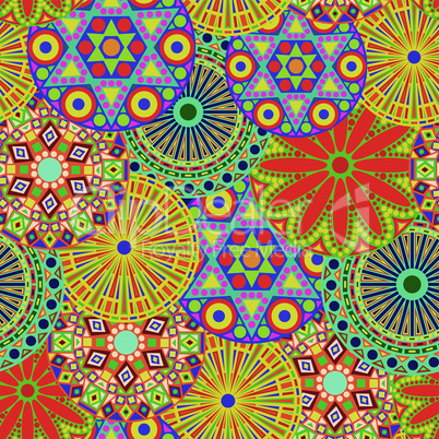 Seamless pattern with vivid colour flowers