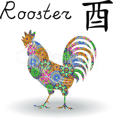 Chinese Zodiac Sign Rooster with color geometric flowers