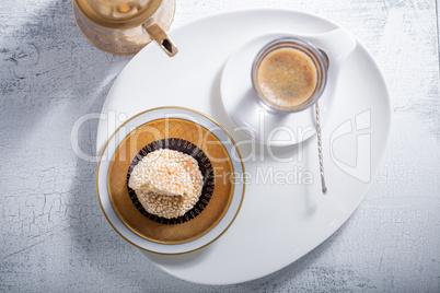 Coffee and handmade almond cookies