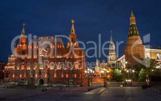Moscow night landscape with red square.