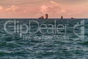 morning landscape with sea rocks