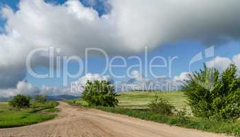 Beautiful landscape of steppe road