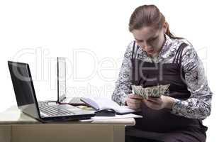 Pregnant woman counting money