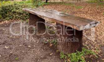 Rustic wood slab picnic table