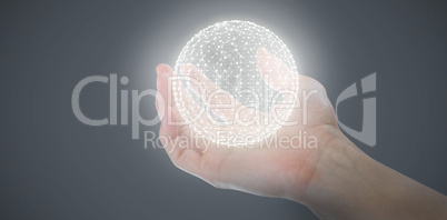 Composite image of cropped hand of man pretending to hold invisible object