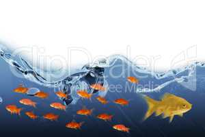 3D Composite image of side view of fish swimming