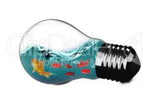 3D Composite image of light bulb with goldfish inside