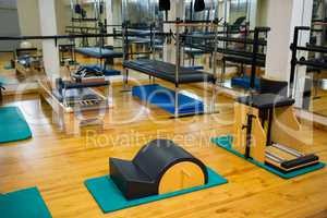 Fitness studio with different gym equipment