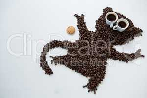 Coffee beans forming monkey shape