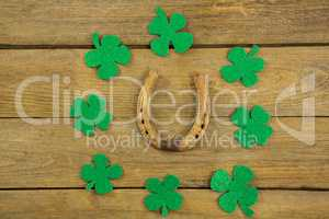 St Patricks Day shamrocks with horseshoe
