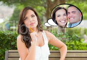 Thoughtful Young Woman with Herself and Handsome Young Man Insid