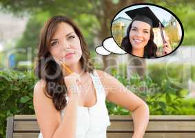 Thoughtful Young Woman with Herself as a Graduate Inside Thought