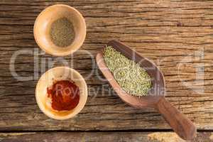 Spices in bowl and wooden spoon