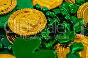 St. Patricks Day chocolate gold coins, beads and shamrocks
