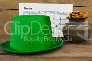 St. Patricks Day leprechaun hat with calendar and pot filled with chocolate gold coins
