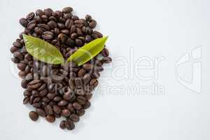 Roasted coffee beans arranged with leafs