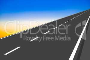 Straight road with marking, 3d illustration