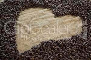 Coffee beans forming heart shape