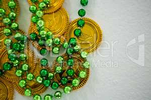 St Patricks Day gold chocolate coin and beads