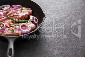 Blade chop in frying pan