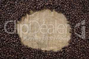 Coffee beans forming circle shape
