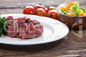 Diced beef and ingredients