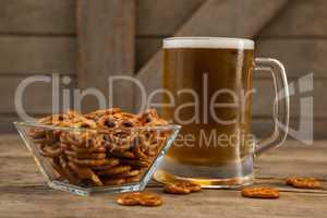 St Patricks Day mug of beer with pretzel