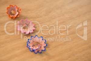 Colored pencil shavings in a flower shape