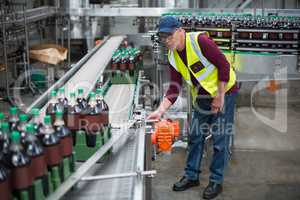 Male factory worker inspecting production line
