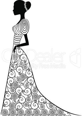 Graceful lady in long gown