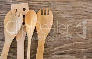 Four wooden spatulas