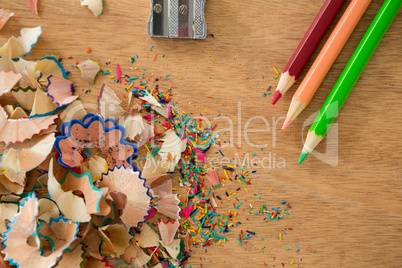 Colored shavings with colored pencils and sharpener