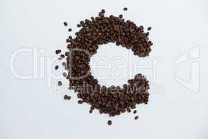 Coffee beans forming alphabet C