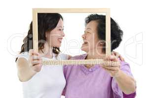 Asian mother and daughter photo frame