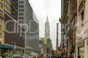 Urban scene in 42 street in New York
