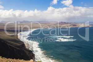 La Caleta de Famara und Feuerberge, Lanzarote, La Caleta de Fama