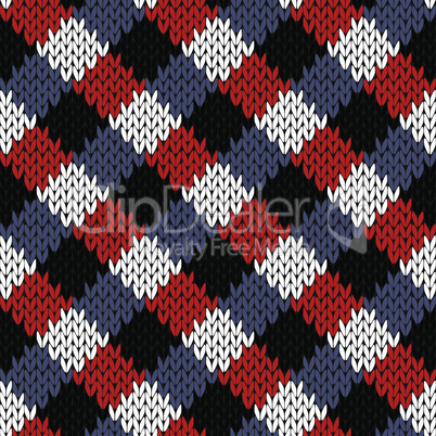 Seamless knitted quadratic pattern