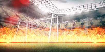 Composite image of large flames on black background