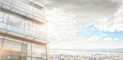 Composite image of low angle view of facade of office building