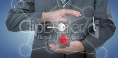 Composite image of mid section of businessman pretending to hold an object 3D