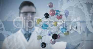 Composite image of male scientist experimenting molecule structure 3D