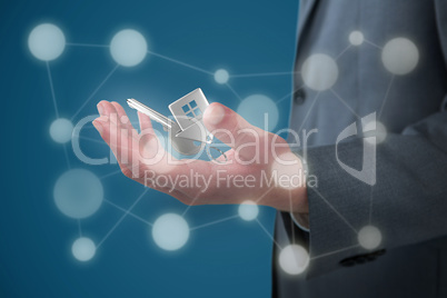 Composite image of midsection of businessman holding invisible object against white background 3D