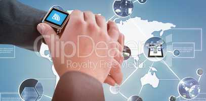 Composite image of businessman checking his smart watch 3D
